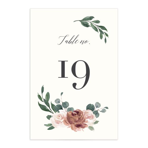 Floral Hoop Table Number front in pink