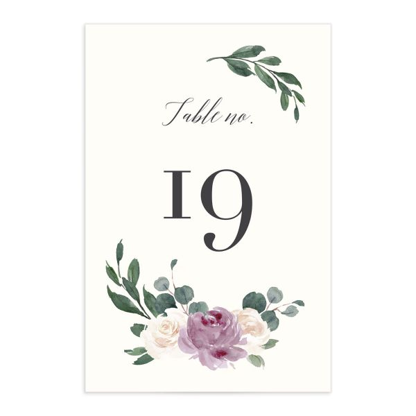 Floral Hoop Table Number front in purple