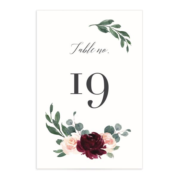 Floral Hoop Table Number front in red