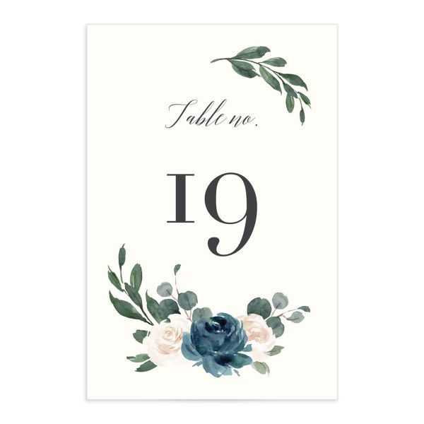 Floral Hoop Table Number front in teal