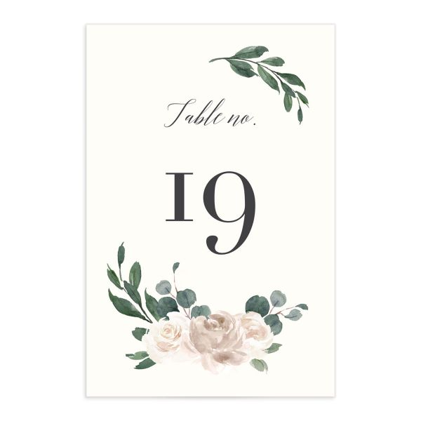 Floral Hoop Table Number front in white