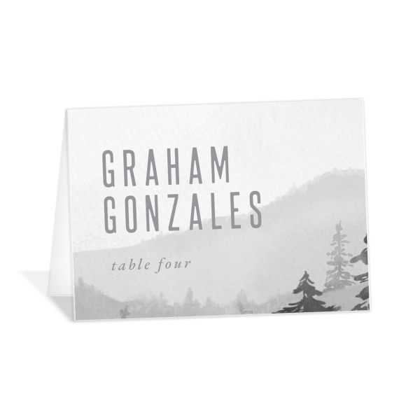 Painted Mountains Place Card front in grey