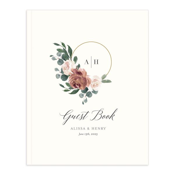 Floral Hoop Wedding Guest Book cover in pink