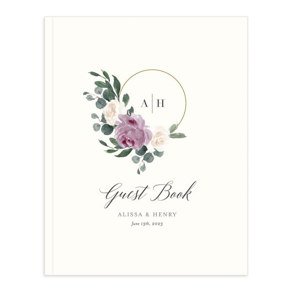 Floral Hoop Wedding Guest Book cover in purple