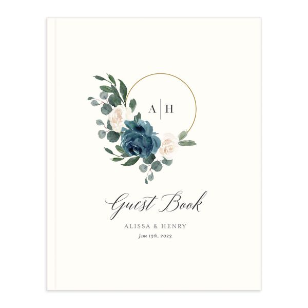 Floral Hoop Wedding Guest Book cover in blue