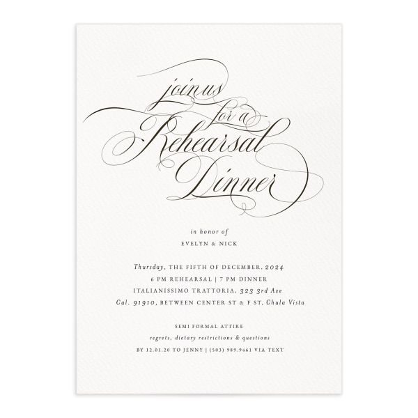Exquisite Calligraphy Rehearsal Dinner Invitations