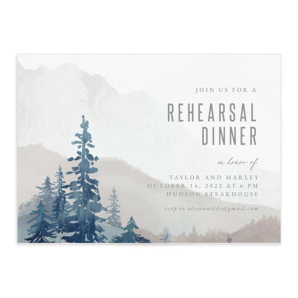 Painted Mountains Rehearsal Dinner Invitation front closeup in blue