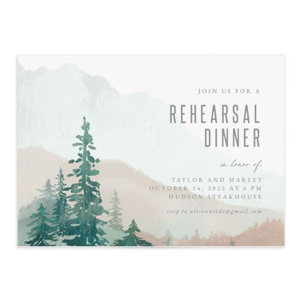 Painted Mountains Rehearsal Dinner Invitation front closeup in green