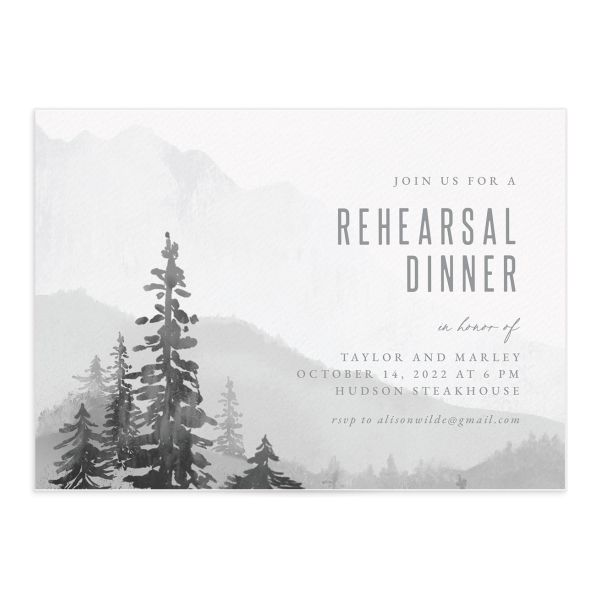 Painted Mountains Rehearsal Dinner Invitation front closeup in grey