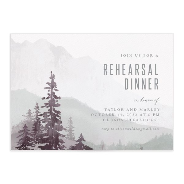 Painted Mountains Rehearsal Dinner Invitation front closeup in purple
