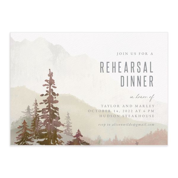 Painted Mountains Rehearsal Dinner Invitation front closeup in red