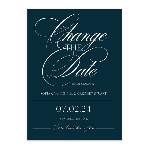 Classically Elegant Change the Date Card front closeup in blue
