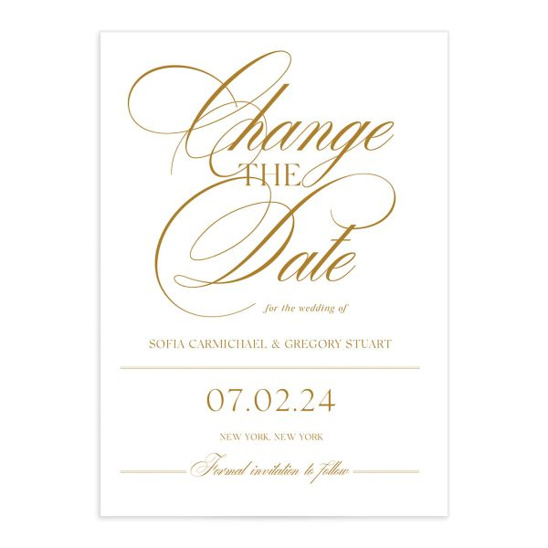 Classically Elegant Change the Date Card front closeup in gold