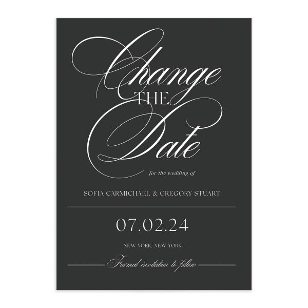 Classically Elegant Change the Date Card front closeup in grey