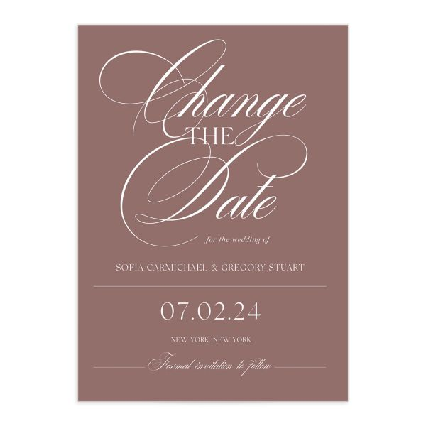 Classically Elegant Change the Date Card front closeup in pink
