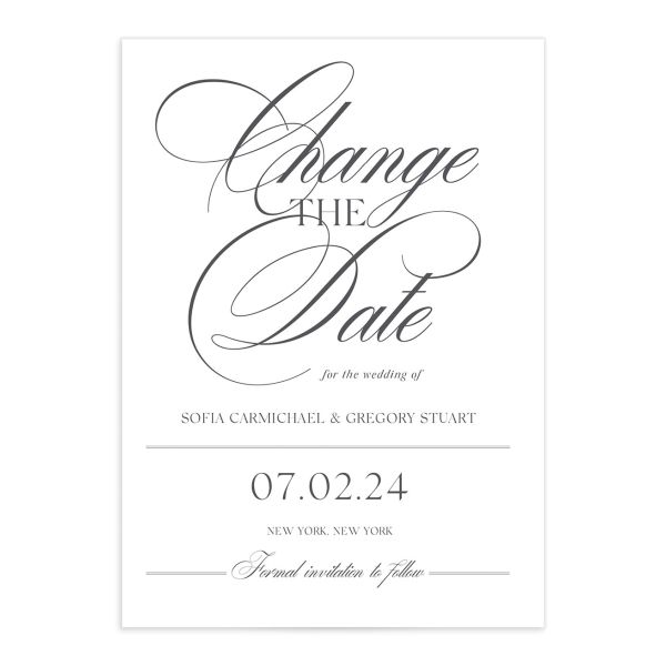 Classically Elegant Change the Date Card front closeup in white