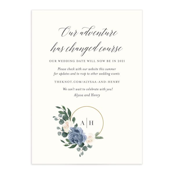 Floral Hoop Change the Date Card front closeup in blue