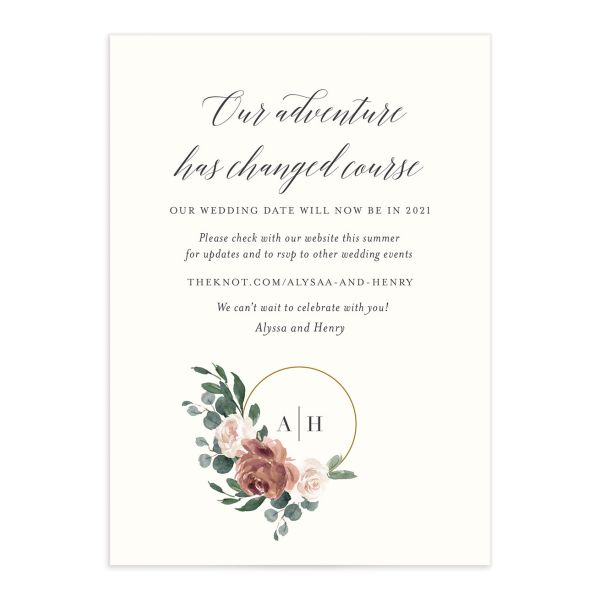Floral Hoop Change the Date Card front closeup in pink