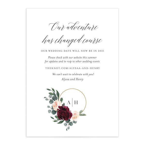 Floral Hoop Change the Date Card front closeup in red