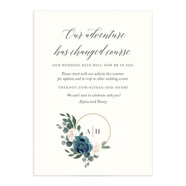 Floral Hoop Change the Date Card front closeup in teal