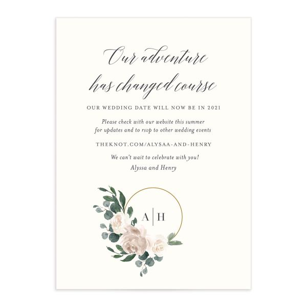 Floral Hoop Change the Date Card front closeup in white