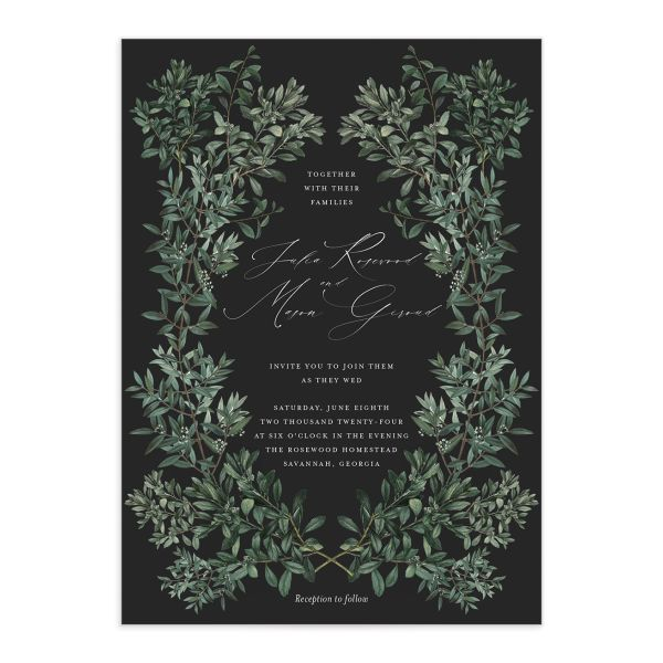Formal Greenery Wedding Invitation front in black