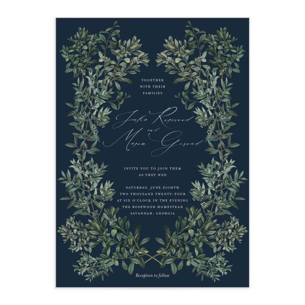 Formal Greenery Wedding Invitation front in navy