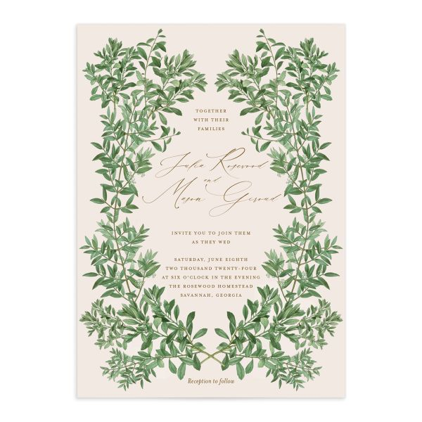 Formal Greenery Wedding Invitation front in pink