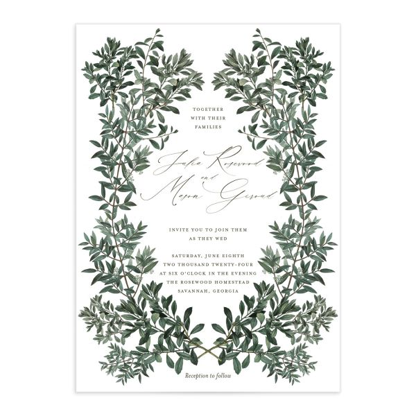 Formal Greenery Wedding Invitation front in white