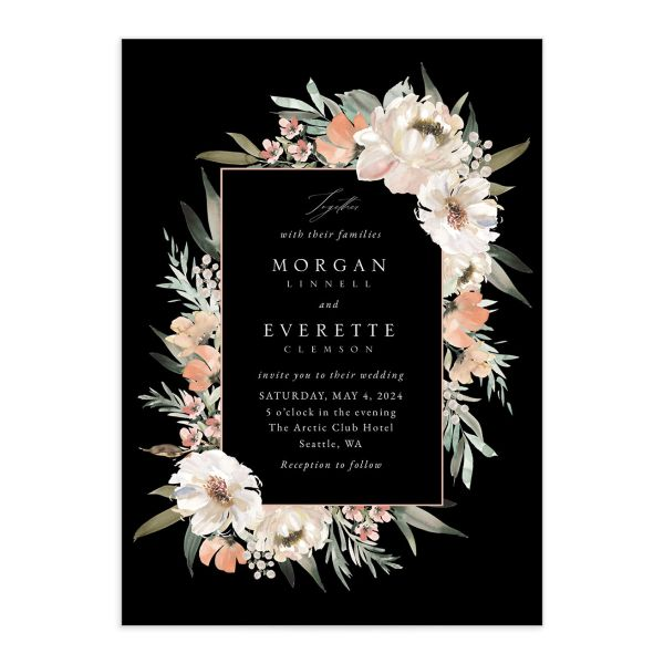 Romantic Frame Wedding Invitation front closeup in black