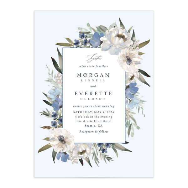 Romantic Frame Wedding Invitation front closeup in blue