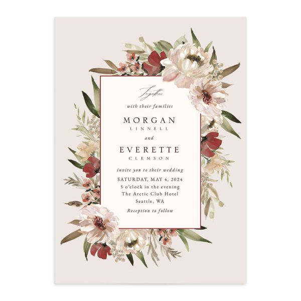 Romantic Frame Wedding Invitation front closeup in red