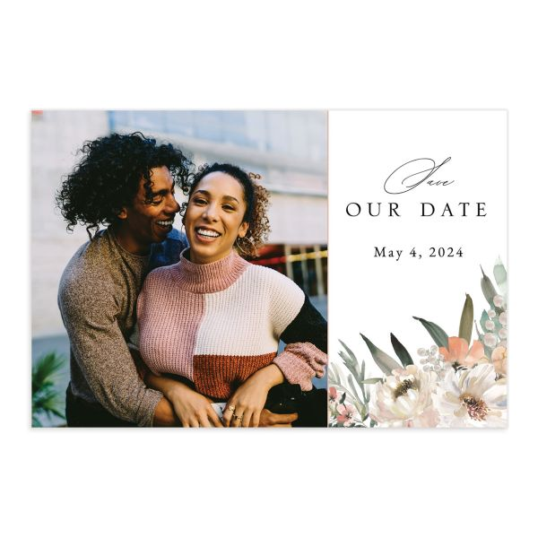Romantic Frame Save the Date Postcard front in white