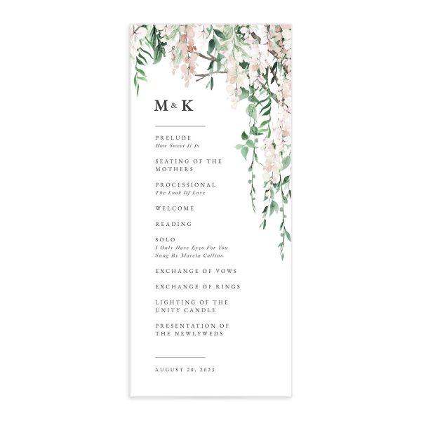 Romantic Wisteria Wedding Programs