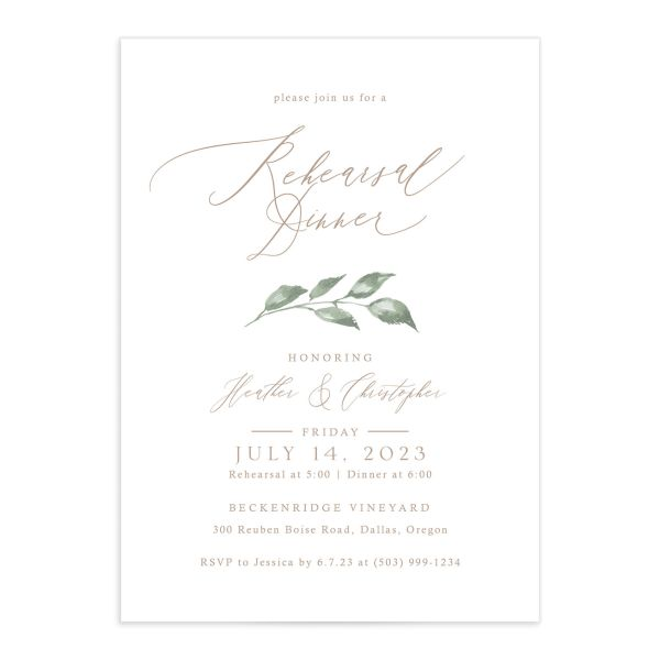Dusted Calligraphy Rehearsal Dinner Invitations