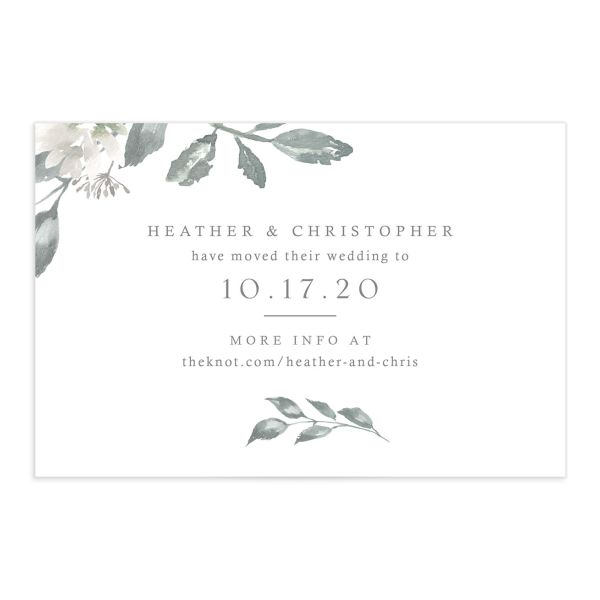 Dusted Calligraphy Change the Date Postcard front in grey