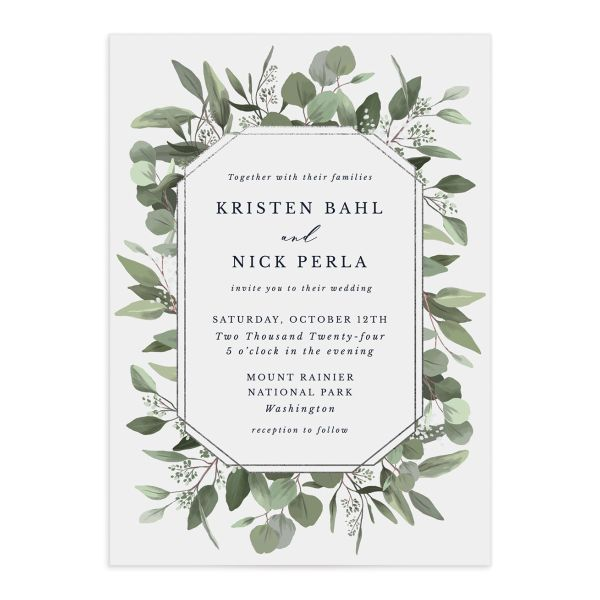 Eucalyptus Frame wedding invitation front in grey