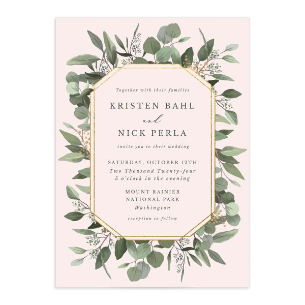 Eucalyptus Frame wedding invitation front in pink