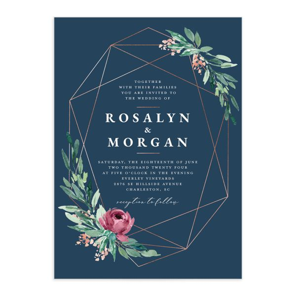 Gilded Botanical Wedding Invitation front closeup in blue