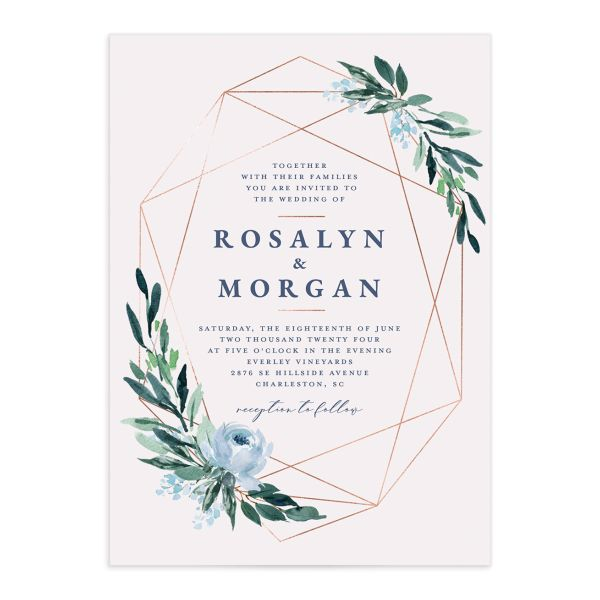 Gilded Botanical Wedding Invitation front closeup in teal