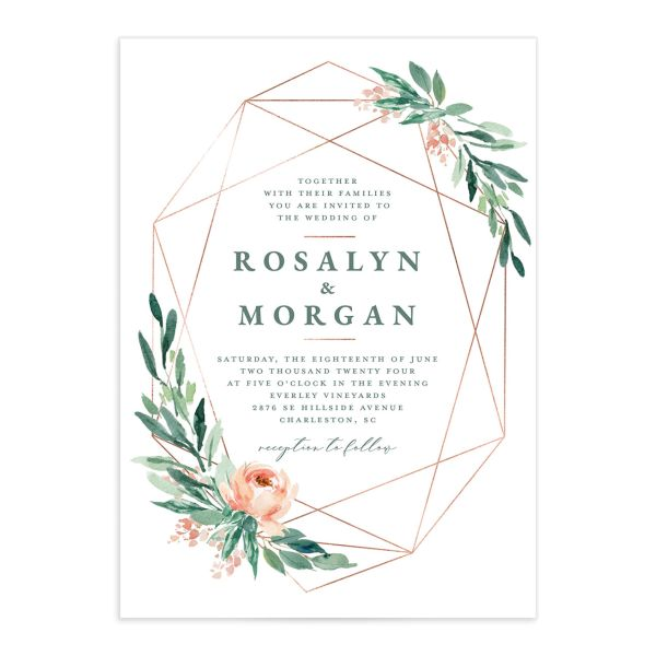 Gilded Botanical Wedding Invitation front closeup in green