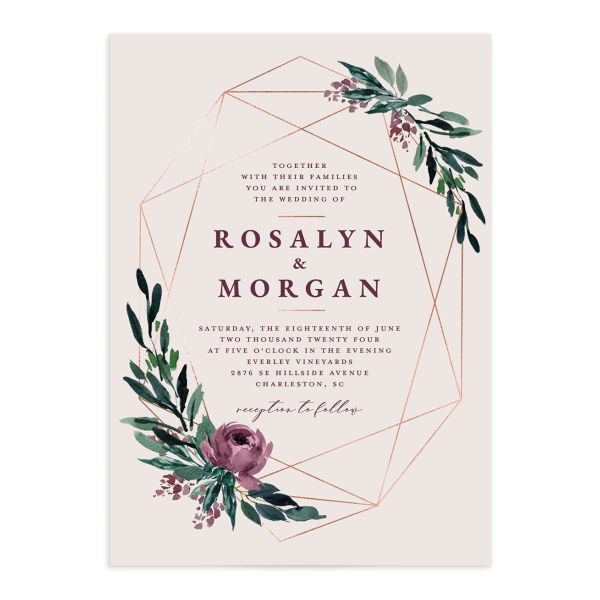 Gilded Botanical Wedding Invitation front closeup in purple