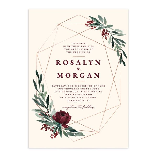 Gilded Botanical Wedding Invitation front closeup in red