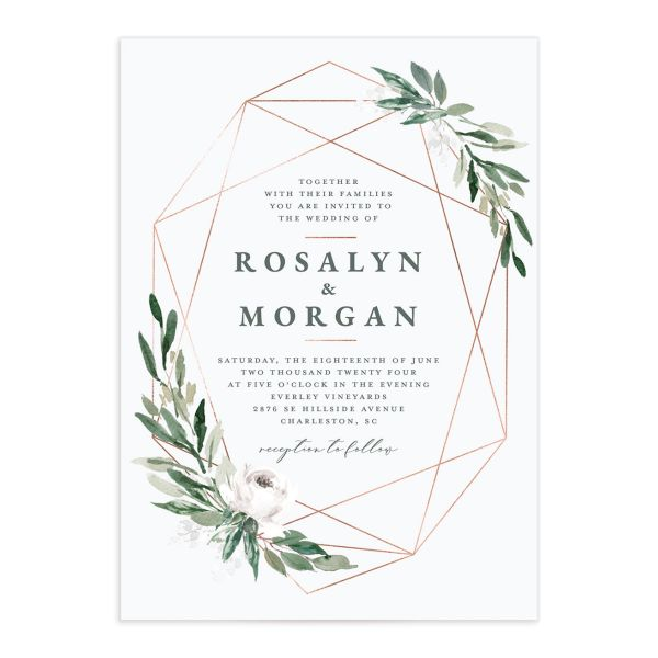 Gilded Botanical Wedding Invitation front closeup in white