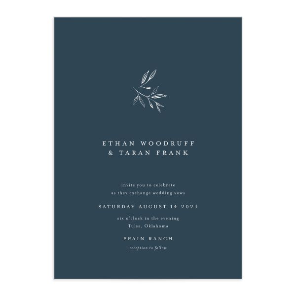 Minimal Leaves Wedding Invitation front closeup in blue