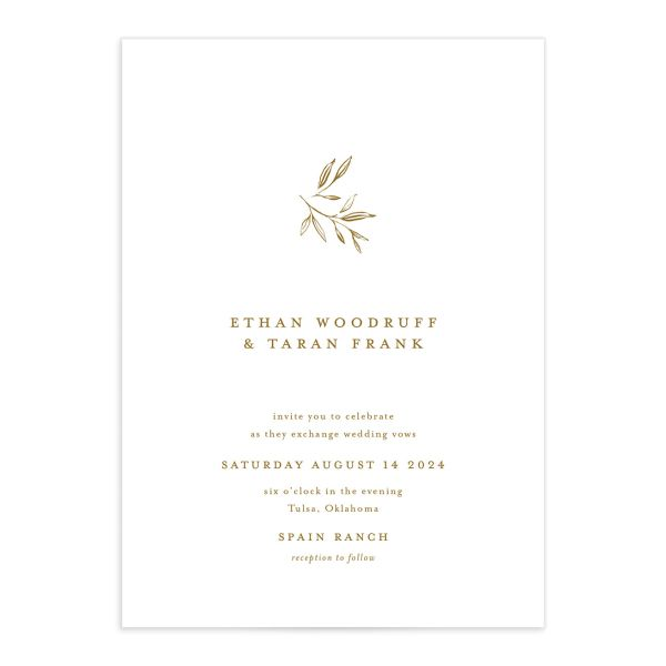 Minimal Leaves Wedding Invitation front closeup in gold