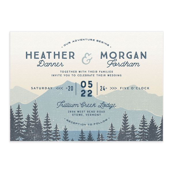 Vintage Mountain wedding invitation front in blue