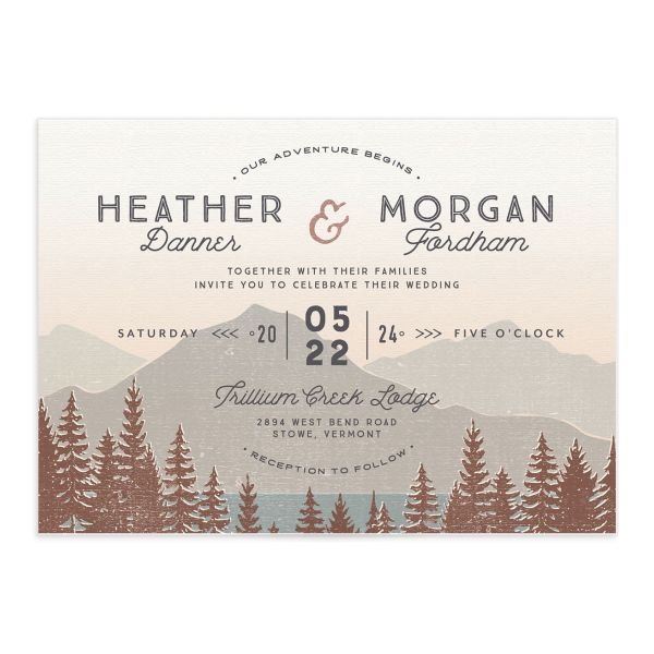 Vintage Mountain wedding invitation front in brown