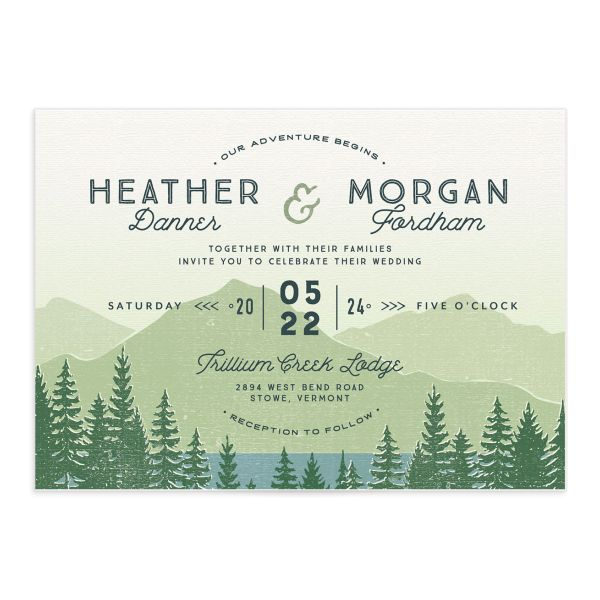 Vintage Mountain wedding invitation front in green