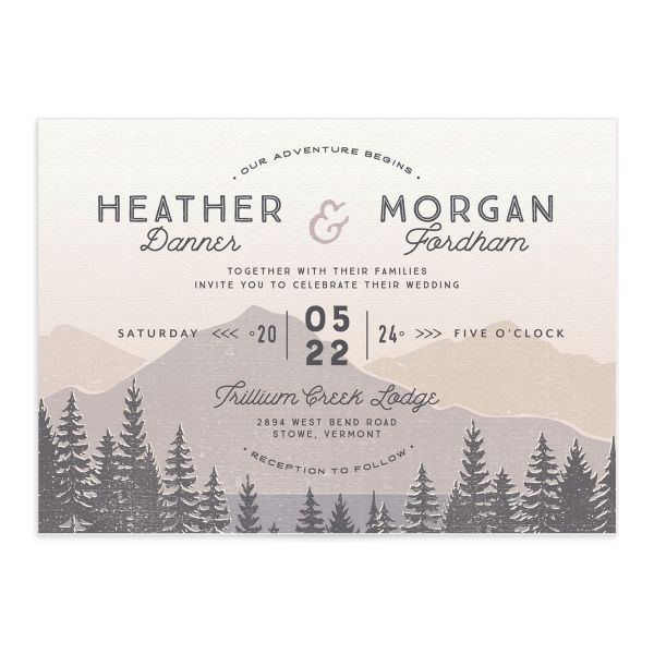 Vintage Mountain wedding invitation front in grey